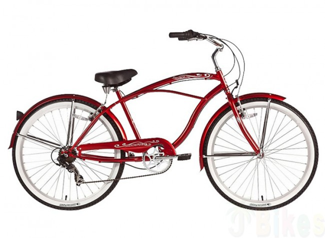Micargi 7 Speed 26quot Pantera Men Beach Cruiser Bicycle Bike Red  EBay