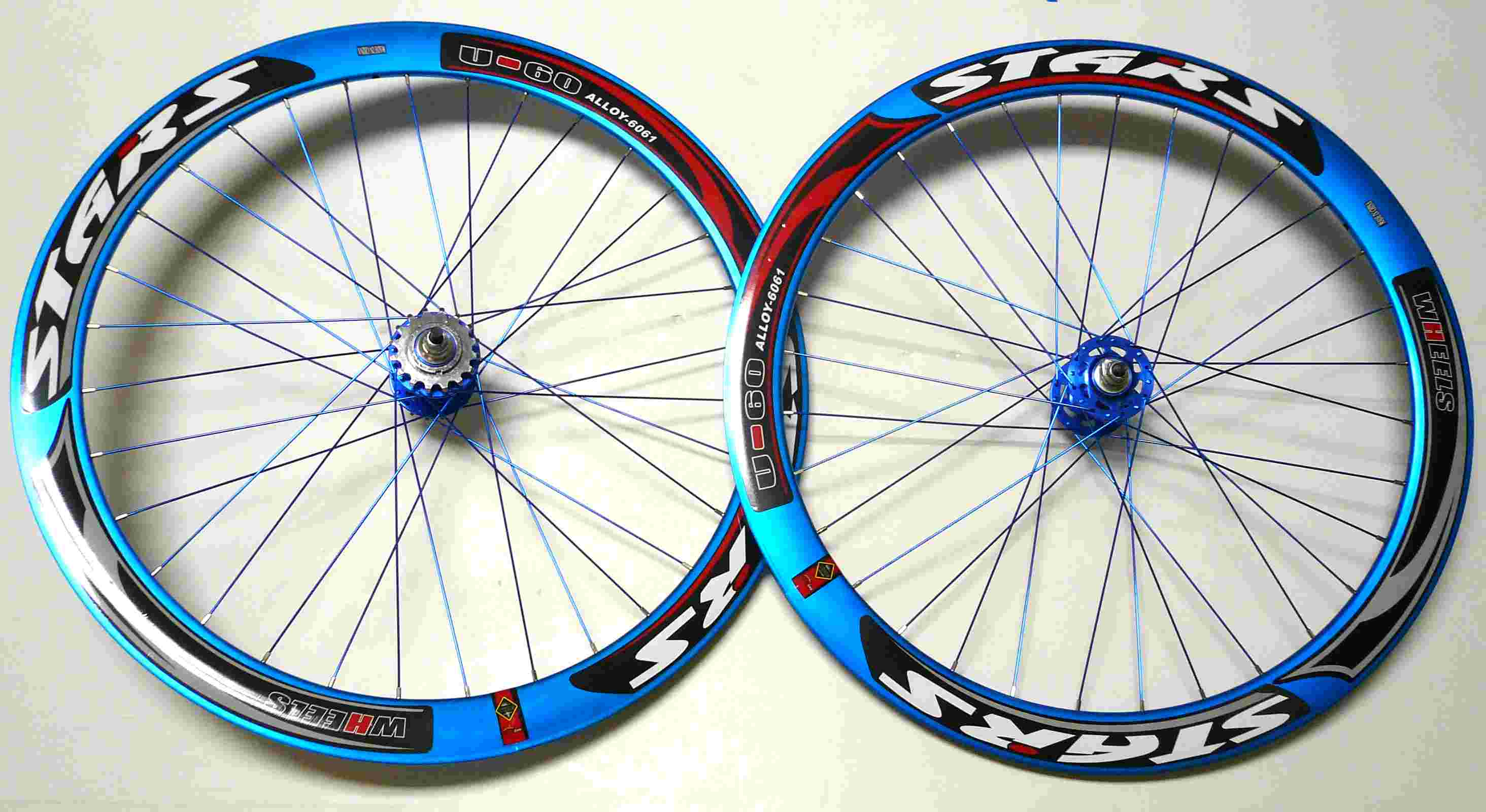 Stars fixed gear 700c deep 60mm wheels blue rims with for Bicycle rims