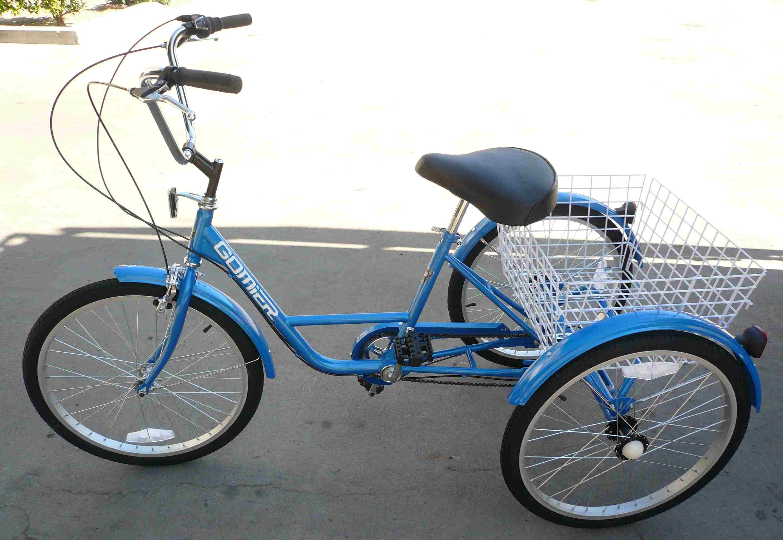 3 wheel adult tricycle 24 trike 6 speed bike blue gomier. Black Bedroom Furniture Sets. Home Design Ideas